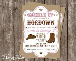 Cowboy Christmas Party Invitations - cowgirl birthday party invitation hoedown birthday western