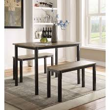 Dining Room Table Set With Bench 4d Concepts Boltzero 3 Piece Walnut And Black Dining Set 159356