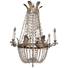 French Empire Chandelier Lighting 19th Century French Empire Bronze And Crystal Basket Chandelier At