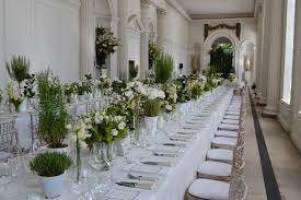 banqueting tables and green succulents for a unique wedding