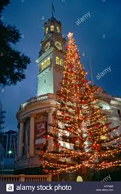 view of auckland city center at night in december with worlds