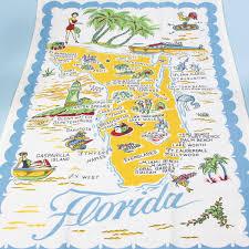 Vero Beach Florida Map Florida Souvenir State Map Kitchen Towel Dish Cloths