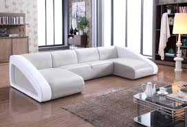 Modern Gray Leather Sofa Divani Casa Pratt Modern Grey White Leather Sectional Sofa Curved