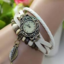 bracelet wrist watches images Women new design retro leather bracelet leaf decoration quartz jpg