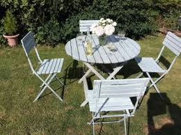Used Folding Chairs For Sale Shabby Chic Beach Style Garden Table U0026 4 Chairs Wood Folding For