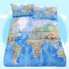 2016 world map bedding set vivid printed blue bed cover twill cozy
