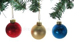 three ornaments with tree branches isolated stock