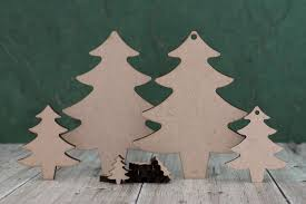wooden mdf christmas tree crafting shape