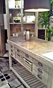 metal top kitchen island this distressed wooden kitchen island with an aged metal top