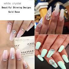 shop 1440pcs pack white rhinestones nail tips