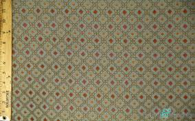 Upholstery Weight Fabric Blue Light Green And Red Geometrical Small Diamond Print