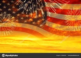 American Flag Sunset Sunset Sky And United States Of America Usa Flag With Fireworks