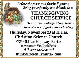 thanksgiving church service from christian science church