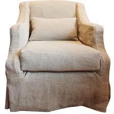 French Linen Armchair Slipcovered Beige Swivel Armchair