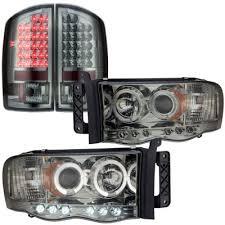 2003 dodge ram tail lights dodge ram 2500 2003 2005 smoked halo projector headlights and led