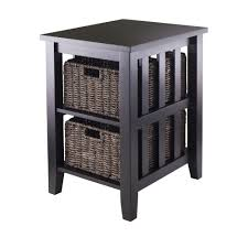 amazon com winsome morris side table with 2 foldable basket