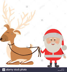background with caricatures of reindeer holding by to santa