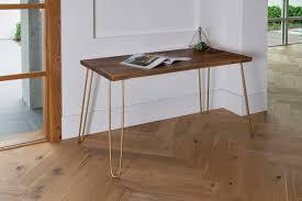 Modern Rustic Desk Gold Hairpin Legs Industrial Modern Desk Modern Rustic Desk