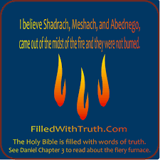 i believe shadrach meshach and abednego came out of the fiery
