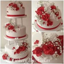 red and white rose wedding cake cake by tickety boo cakes