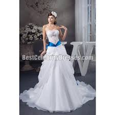 white wedding dress with royal blue sash tranparant wedding dress strapless side draping bridal gown