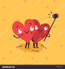 halloween date background two happy hearts making selfie on stock vector 568960099