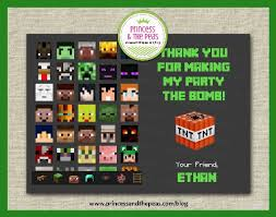 minecraft cards minecraft thank you cards affordable kids birthday party ideas