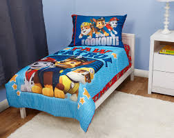 amazon com delta children plastic toddler bed nick jr blaze paw patrol here to help 4 piece toddler bedding set