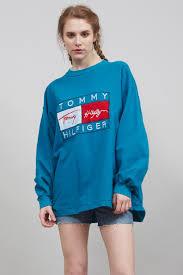 vintage hilfiger sweaters vintage 90 s oversized turquoise hilfiger logo sweater