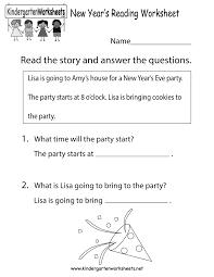 new year u0027s reading worksheet free kindergarten holiday worksheet