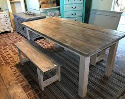 Rustic Bench Dining Table Rustic Dining Table Etsy