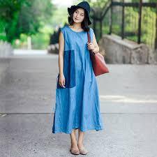 light blue sleeveless dress individual women linen splicing strap light blue sleeveless dress