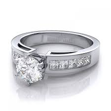 channel engagement ring 50ctw channel set sidestones ring mount in 18k white