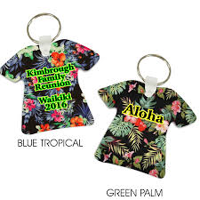hawaiian tropical print t shirt shaped aluminum key tag keychain