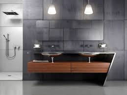 awesome grey white glass wood luxury design cool bathroom simple