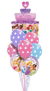 cake and balloon delivery princess birthday iii tiered cake balloon bouquet 9 balloons