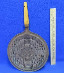 vintage metal spatter cover w wood handle 8 inch round kitchen