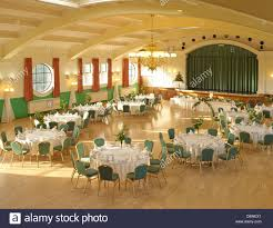 wedding reception chairs tables hall stage top table stock photo