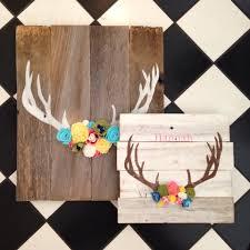 wooden sign antler with felt flowers by peabodyandsassafras so