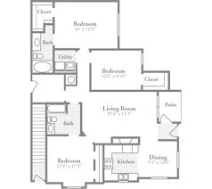 three bedroom floor plans 3 bedroom floor plans crowne at carolina stylish apartments