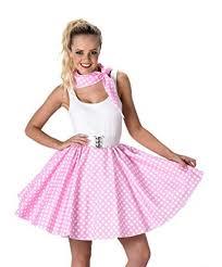 Halloween Costume Polka Dot Dress Amazon Women U0027s Pink Polka Dot Skirt U0026 Necktie Halloween