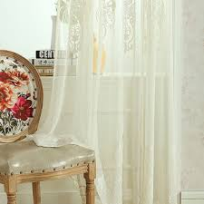 100 polyester embroidery fabric sheer curtain panel flower