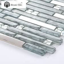 TST Glass Mental Tile Glass Tile Grey Strip Stainless Steel - Glass and metal tile backsplash