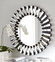 Decorative Mirrors For Bathrooms by Contemporary Round Mirror On The Bathroom Design With Flower Vase