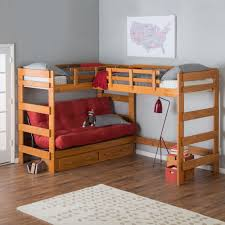 9woodcrest heartland futon bunk bed with 2 loft beds with storage