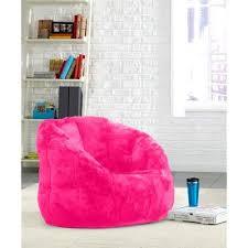 pink plush cocoon faux fur bean bag chair size lounger