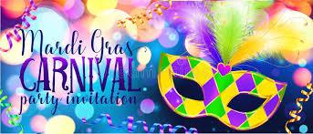 mardi gras banner traditonal colors carnival mask on shining bokeh lights mardi
