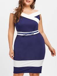 modele de robe de bureau robe de bureau à manches cape à deux tons grande taille en bleu