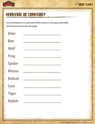 herbivore or carnivore u2013 1st grade science worksheet online