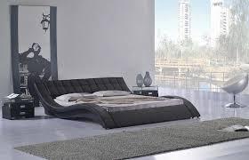Black Leather Platform Bed Oliver Black Leather Platform Bed